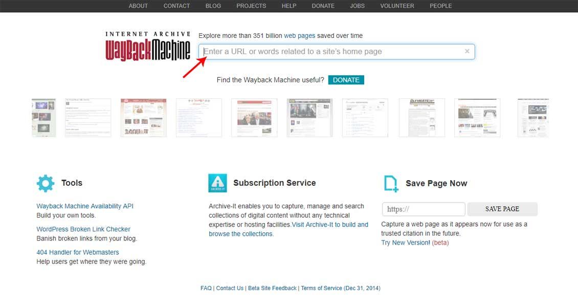 Главная страница сайта web.archiv.org для поиска уникальных статей - фото